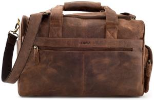 "LEABAGS - Unisex Leather Travel Weekender Holdall Sports Bag ""Oslo"" Vintage Style made of Genuine Buffalo Leather"