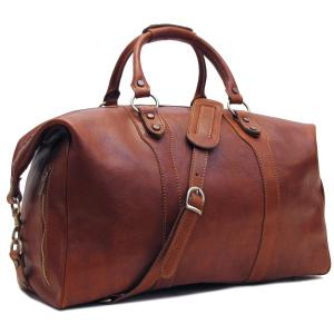 Floto Roma Travel Bag Saddle Brown Italian Leather Weekender Duffle