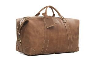 Mu-Stone Vintage Look Men's Leather Weekender Duffel Bag Luggage