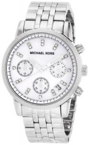 Michael Kors Watches Silver Chronograph with Stones Watch