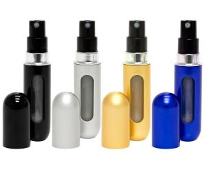 Travalo Classic 4 Pack Refillable Travel Perfume Bottle Atomizers (Black-Silver-Gold-Blue)