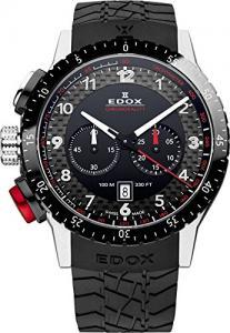 Edox Men's 10305 3NR NR Chronorally 1 Analog Display Swiss Quartz Black Watch