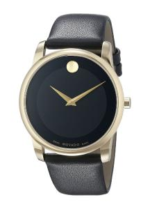 Movado Men's 0606876 Gold-Tone Watch with Black Leather Band