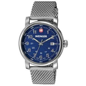 Wenger Urban Classic Blue Sunray Textured Dial, Stainless Steel Mesh Bracelet 1041.107