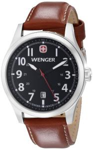 Wenger Men's 0541.102 Terragraph Stainless Steel Watch with Brown Leather Band