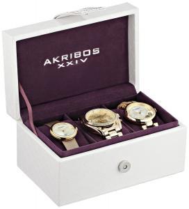 Akribos XXIV Women's AK738YG Analog Display Swiss Quartz Gold Watch Set