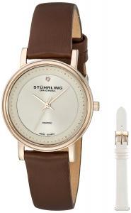 Stuhrling Original Women's 734LS2.SET.02 Symphony Elite Swiss Quartz Diamond Brown Watch with Interchangeable Strap