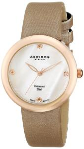 Akribos XXIV Women's AK687PK Impeccable Swiss Quartz Diamond Mother-of-Pearl Satin Strap Watch