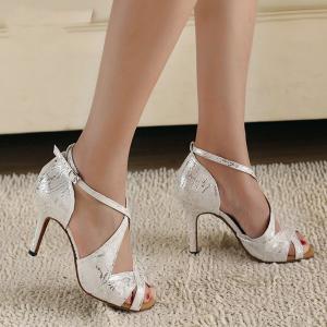 Minishion QJ6126 Womens Peep Toe High Heel Satin Floral Salsa Tango Ballroom Latin Ankle Wrap Dance Sandals