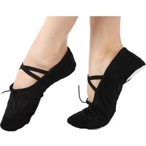 WHATWEARS Womens Ballet Shoe Flat Dance Ballroom Training Shoe