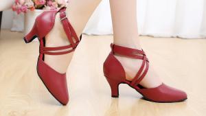 Abby AQ-6175 Womens Latin Tango Cha-Cha Kitten Heel Round-toe Leather Dance-shoes