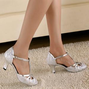 Minishion QJ6133 Womens Kitten Heel PU Leather Glitter Salsa Tango Ballroom Latin T-Strap Dance Sandals