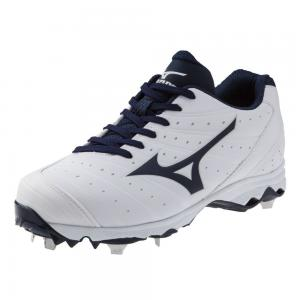 Mizuno Women's 9-Spike Advanced Sweep 2 Fastpitch Softball Metal Cleat - White & Navy