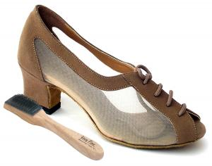 "Very Fine Womens Salsa Ballroom Tango Practice Dance Shoes 1644 Bundle with Dance Shoe Wire Brush 2"" Heel"