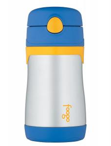 Thermos FOOGO Phases Stainless Steel Straw Bottle, Blue/Yellow, 10 Ounce
