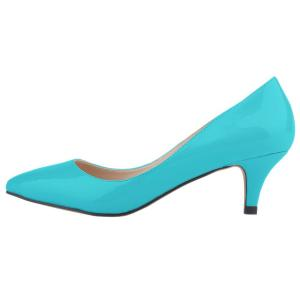 Loslandifen Womens Low Mid Heels Shoes Leather Pointed Dress Pumps