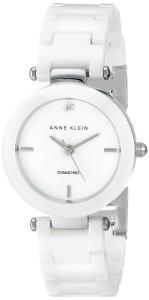 Anne Klein Women's AK/1465WTSV Diamond-Accented White Ceramic Bracelet Watch