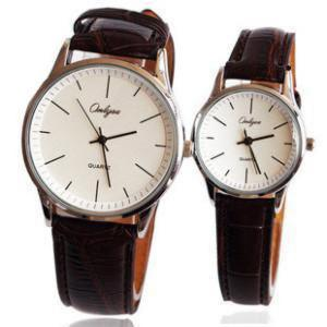 Simple Type Brown Leather Couple Watches for Women