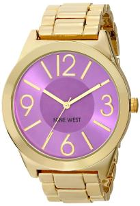 Nine West Women's NW/1584PRGB Purple Orchid Dial Gold-Tone Bracelet Watch