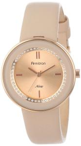 Armitron Women's 75/5124RSRGBH Rose Gold-Tone Watch with Swarovski Crystals and Leather Strap