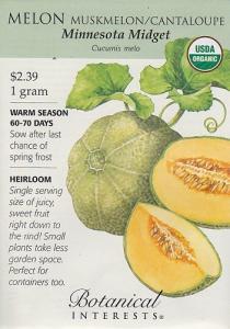 Organic Minnesota Midget Muskmelon/Cantaloupe Seeds - 1 g - Botanical Interests
