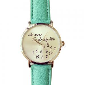 U-beauty Unisex Men Women Lady Girls i'm already late Leather Strap Watches Quartz Wristwatch (Mint Green)