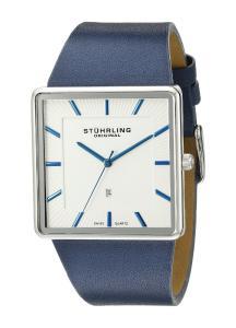 Stuhrling Original Men's 342.3315C2 Classic Ascot Saratoga Swiss Quartz Ultra Slim Date Blue Leather Strap Watch