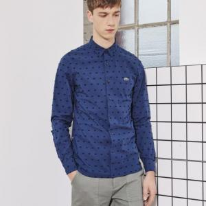 Sơ mi nam Lacoste L!VE COTTON DOT WOVEN SHIRT PHILIPPINES BLUE/BLACK