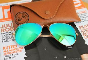 Ray Ban Aviator Sunglasses RB3025 112-19 Matte Gold Frame, Green Mirror Lenses (58mm)