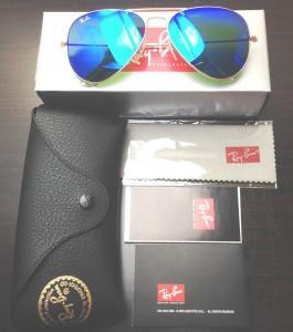 Ray-ban Original Rb3025 112/17 Aviator Sunglasses, Matte Gold Frame/ Blue Mirror Lens, 58mm