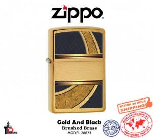 Bật lửa Zippo Gold And Black Lighter Brushed Brass Genuine Windproof 28673