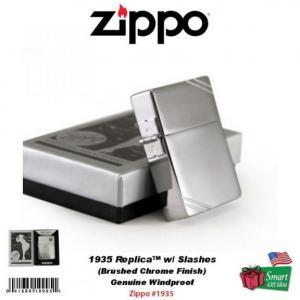 Bật lửa Zippo 1935 Replica Lighter, w/Slashes, Brushed Chrome, Genuine Windproof #1935