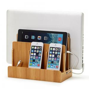 The Original G.U.S. 100% Bamboo Wood Multi-device Charging Station and Dock - Charges all your devices in one place. Compatible with Apple iPhone, iPads, Samsung Galaxy, MacBook, Smartphones & Tablets
