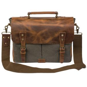Coreal Vintage Canvas Genuine Leather Laptop Messenger Shoulder Bag