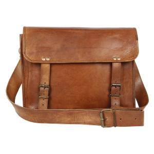 Brown Leather Messenger Bag for Men Women Vintage Laptop Gifts Ideas