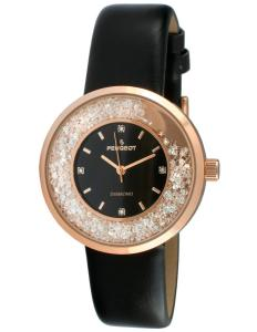 Peugeot Women's Genuine Diamond Marker Rose Gold Floating Crystal Watch