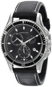 Hamilton Men's H37512731 Jazzmaster Seaview Black Chronograph Dial Watch