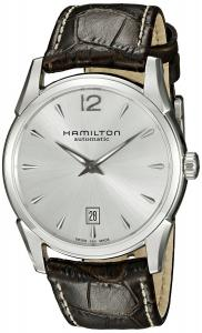 Hamilton Men's H38515555 Jazzmaster Stainless Steel Automatic Watch with Brown Leather Band