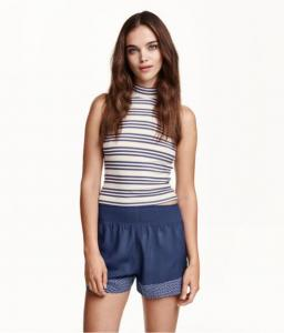 Sleeveless Mock Turtleneck Top Dark blue/striped