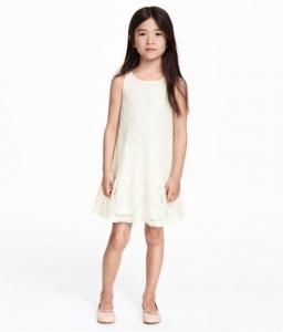 Sleeveless Lace Dress Natural white