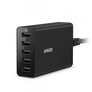 Anker PowerPort 5 (40W 5-Port USB Charging Hub) Multi-Port USB Charger for iPhone 6s / 6 / 6 Plus, iPad Air 2 / mini 3, Galaxy S6 / Edge / Plus, Note 5 and More (Black)
