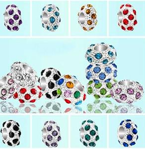 10Pcs mixed bright silver plated metal rhinestone beads