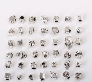 "Bundle Monster 40 PC Antique Silver Plated Oxidized Metal Beads Charms Set Mix Lot - Compatible with Pandora Biagi Troll Chamilia Bracelets w/ ""BM"" Pouch"