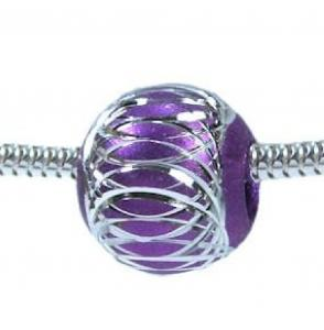 PURPLE Amethyst Ball European Charm Bead