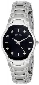 Bulova Women's 96P146 Diamond-Dial Watch in Silver Tone