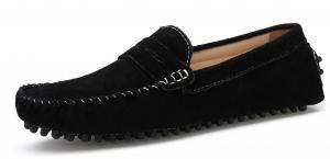 SUNROLAN Men's Dress Shoes Suede Slip on Flats Dress Loafer Slim Mocassin Leather Boat Driving Shoes 2019