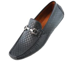 Amali Mens Driving Moccasin Loafer in Square Patterned Smooth with Silver Ornament in Black: Style SQ-Roland Black-000
