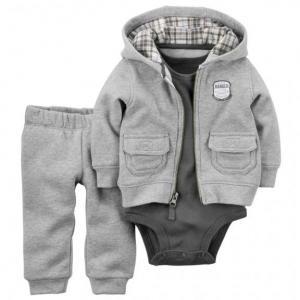 3-Piece Hooded Fleece Cardigan Set