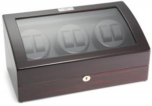 Diplomat Ebony Wood Six Watch Winder with Black Leather Interior and 4 Program Settings
