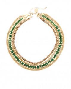 Green & Goldtone Short Mesh Necklace